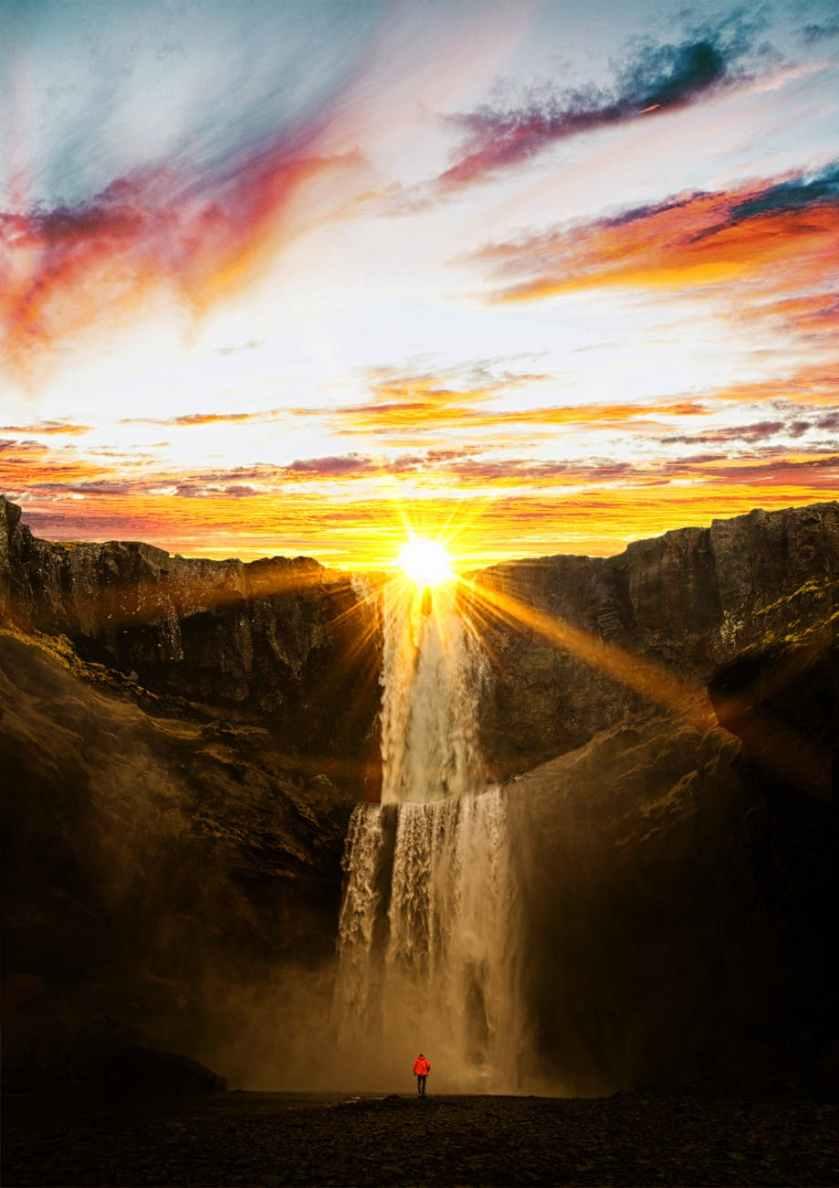 waterfalls during sunset