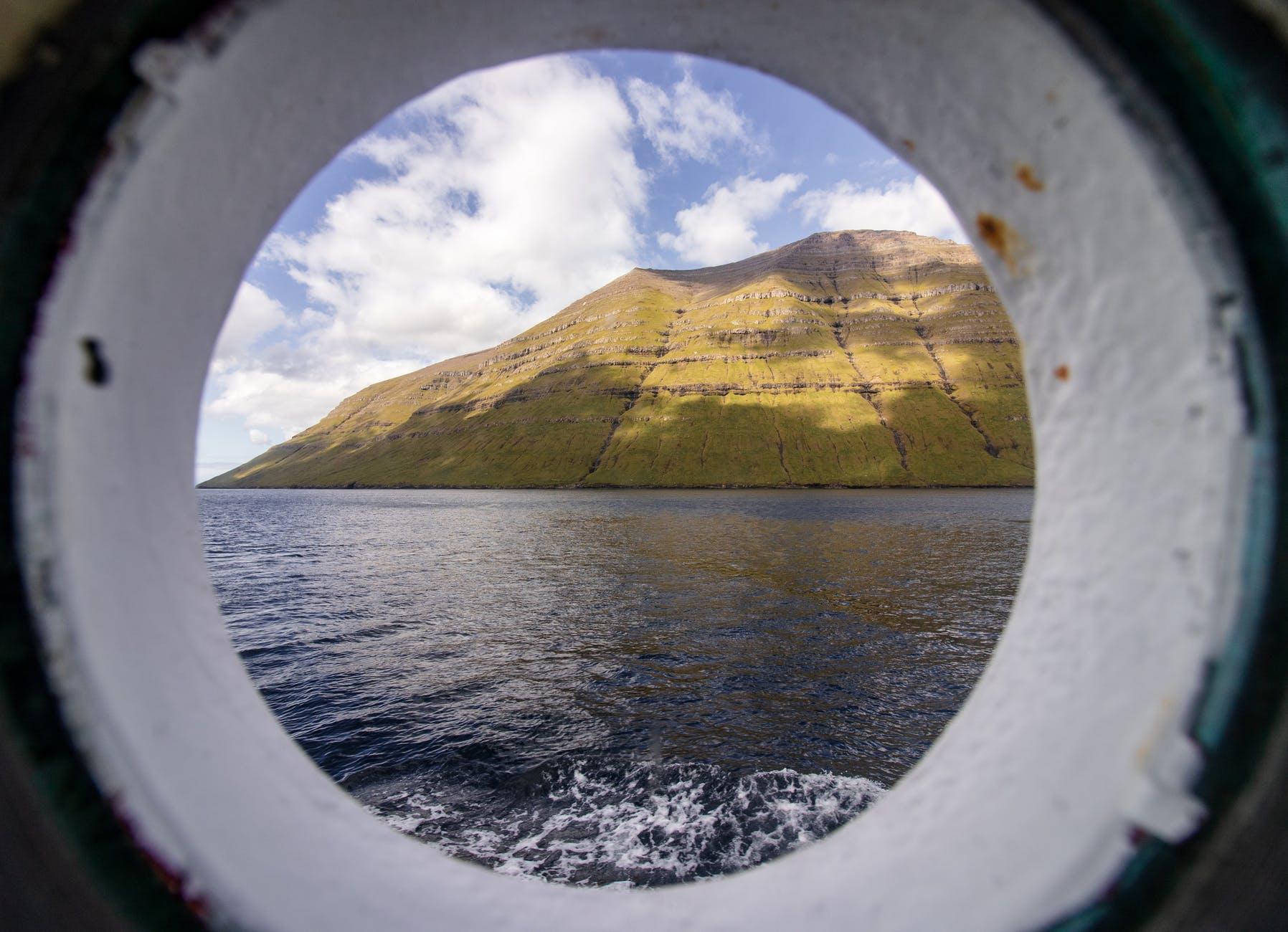mountain near ocean
