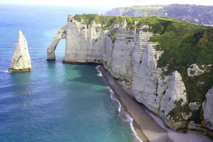 beach calm cliffs coast line