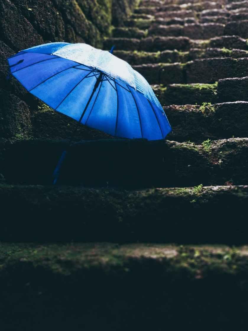 blue umbrella on black stairs